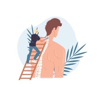 Kreskówka lekarz znaków w mundurach, fartuchach laboratoryjnych z urządzeniami medycznymi i symbolami - koncepcja leczenia i terapii chorób kręgosłupa