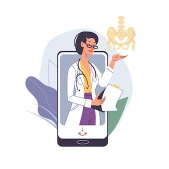 Kreskówka lekarz znaków w mundurach, fartuchach laboratoryjnych z urządzeniami medycznymi i symbolami - koncepcja leczenia i terapii chorób miednicy