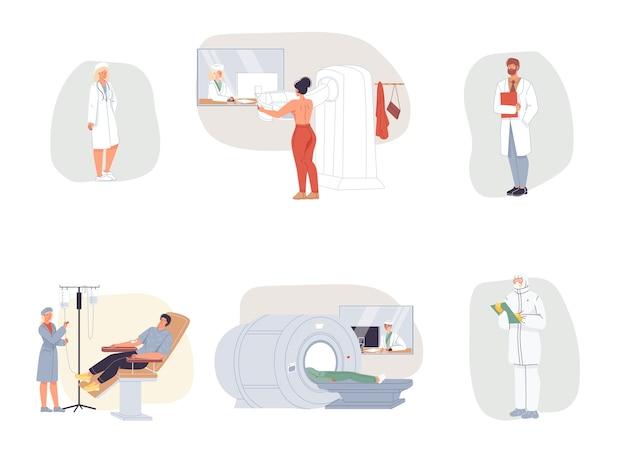 Kreskówka lekarz znaków w mundurze, fartuchy laboratoryjne z urządzeniami medycznymi i koncepcją leczenia pacjentów i terapii