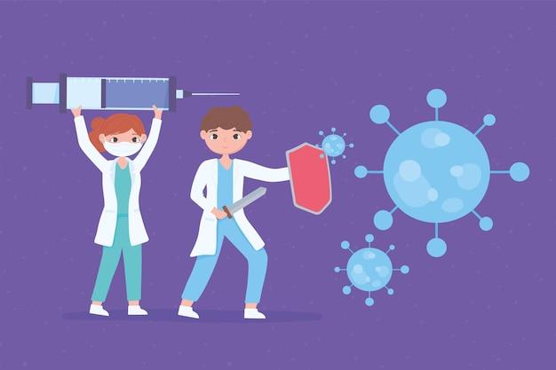 Kreskówka lekarze płci żeńskiej i męskiej ze strzykawką z szczepionką covid