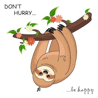 Kreskówka lenistwo. śmieszne brązowe słodkie zwierzęta szczęśliwy. śliczny leniwiec