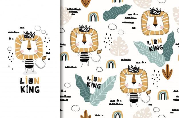 Kreskówka lew król zwierząt znaków. zestaw kart i wzór. ręcznie rysowane tkaniny projektowania ilustracji