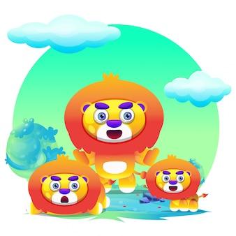 Kreskówka lew ładny