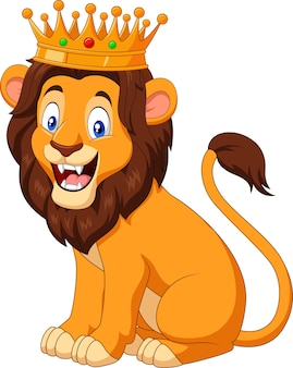 Kreskówka lew sobie koronę