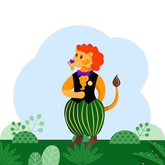 Kreskówka lew w kamizelce i spodniach. żywe kolory. ilustracja wektorowa