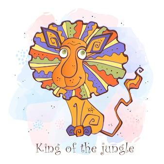 Kreskówka lew w ładny styl. król dżungli