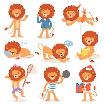 Kreskówka lew żartuje postać leo dzikiego dziecka zwierzęcia bawić się czytać lub spać ilustracyjnego ustawiającego zwierzęcego biznesmena lub santa lwy odizolowywających na białym tle