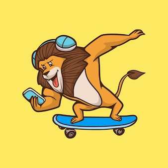 Kreskówka lew zwierząt na deskorolce słodkie logo maskotki