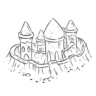 Kreskówka lineart ręcznie rysowane piasek zamek, fort lub twierdza z wieżami. śliczny szkic