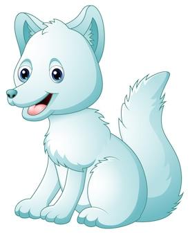 Kreskówka lis arktyczny siedzi