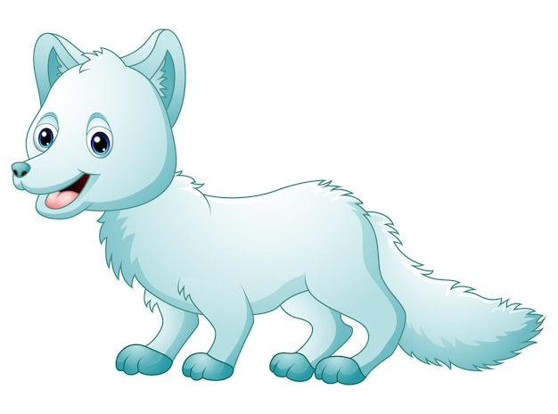 Kreskówka lis arktyczny spaceru