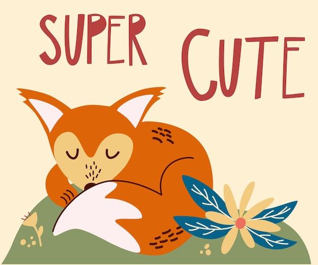 Kreskówka lis dziecko do spania. litery napis super cute. śpiący lis na leśnym trawniku. jesienna ikona zwierząt leśnych do druku, naklejki, pocztówki. ilustracja wektorowa śmieszne lasu.
