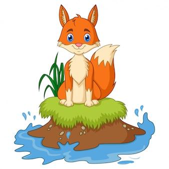 Kreskówka lis siedzieć na trawie