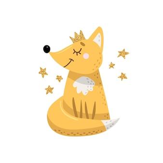 Kreskówka lis w koronie ze złotymi gwiazdami.