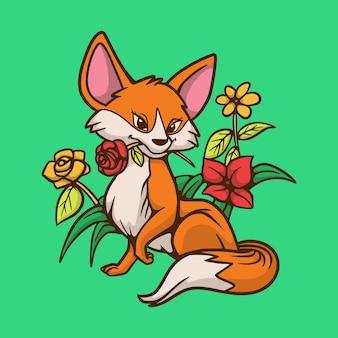 Kreskówka lis zwierząt gryzie logo maskotki ładny kwiat