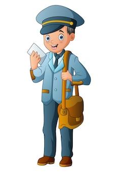 Kreskówka listonosz trzyma pocztę i torbę