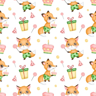 Kreskówka lisy szczęśliwy urodziny wzór. lisy z cukierkami, lizakiem, ciastem, urodzinowym kapeluszem, prezentem