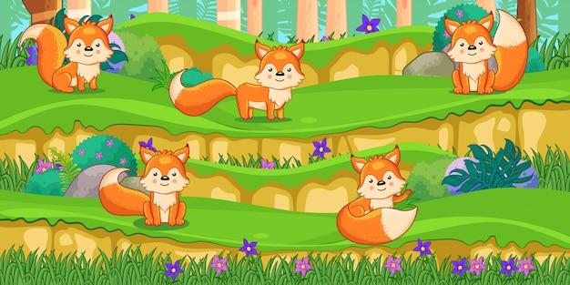 Kreskówka lisy w pięknym ogrodzie