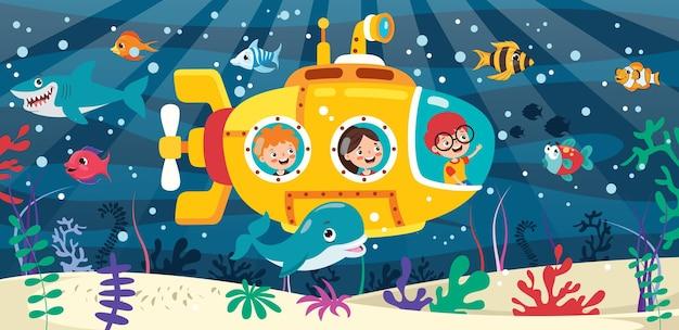 Kreskówka łódź podwodna pod morzem