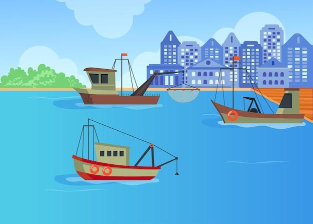 Kreskówka łodzie rybackie w porcie płaska ilustracja.