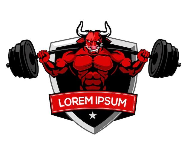 Kreskówka logo byka fitness