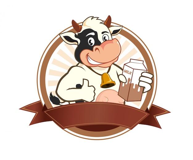 Kreskówka logo krowie mleko