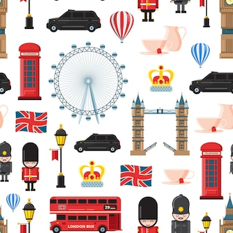 Kreskówka londyńskie zabytki i przedmioty