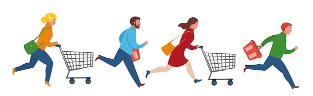 Kreskówka ludzie biegną do sprzedaży. zakupy w supermarkecie. mieszkanie