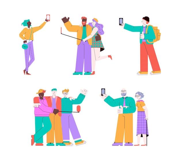 Kreskówka ludzie biorący selfie na białym tle zestaw mężczyzn w grupie przytulają starą i młodą parę