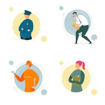 Kreskówka ludzie charakter zestaw różnych zawodów