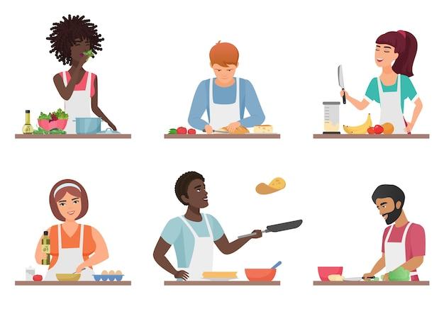 Kreskówka ludzie gotowanie zestaw na białym tle