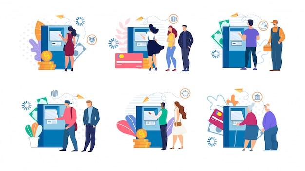 Kreskówka ludzie i wypłacanie pieniędzy w bankomacie