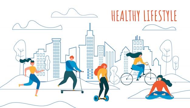 Kreskówka Ludzie Jazda Na Rowerze Jeździć Skuter Hoverboard Premium Wektorów