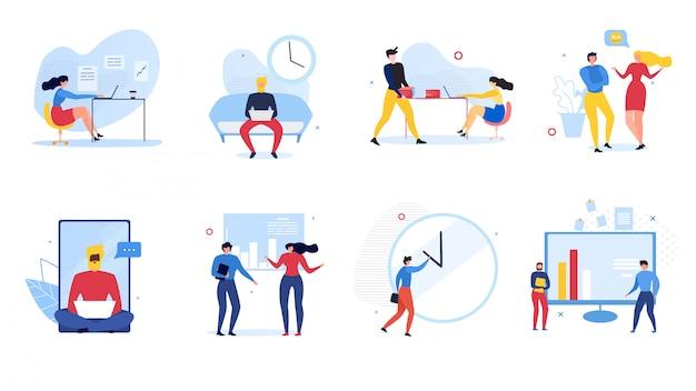 Kreskówka ludzie komunikacji zestaw ilustracji