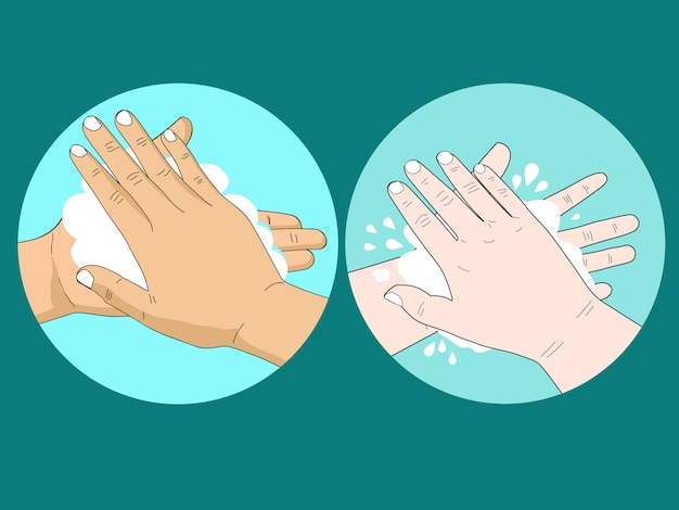 Kreskówka ludzie myje rękę z mydłem i bąblem