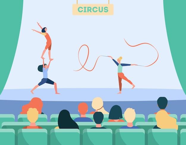 Kreskówka ludzie oglądają program w cyrku. ilustracja kreskówka