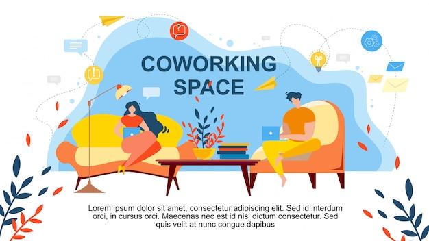Kreskówka ludzie pracują w komfortowym pokoju