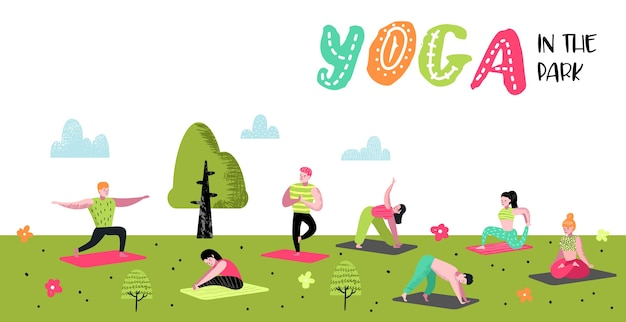 Kreskówka ludzie praktykujących jogę plakat