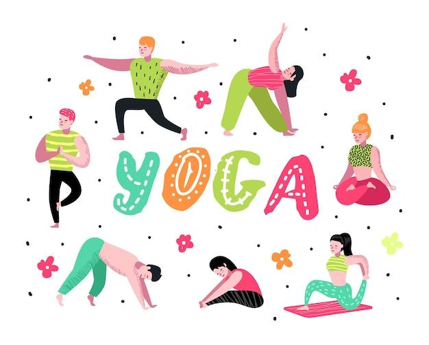 Kreskówka ludzie praktykujących jogę