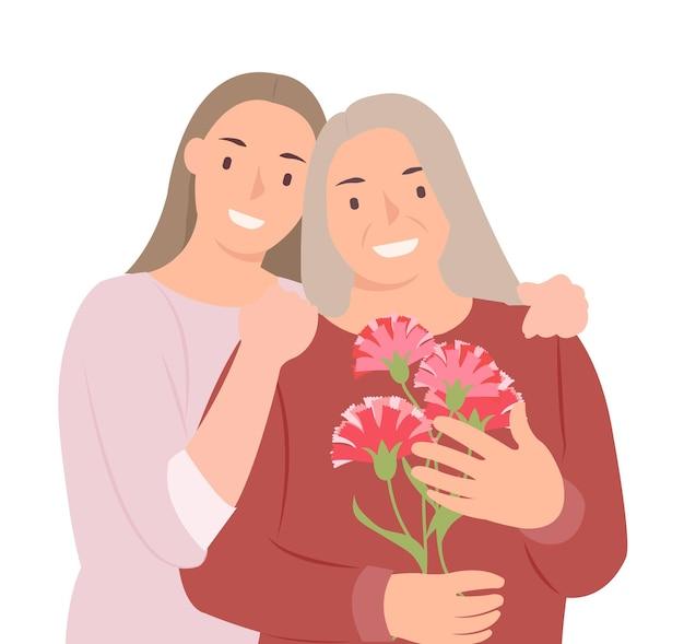 Kreskówka ludzie projekt postaci szczęśliwego dnia matki młoda córka i matka z kwiatami goździka w ręku. idealny zarówno do druku, jak i projektowania stron internetowych.