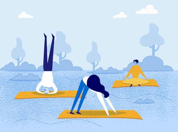 Kreskówka ludzie robią asany jogi w parku przyrody