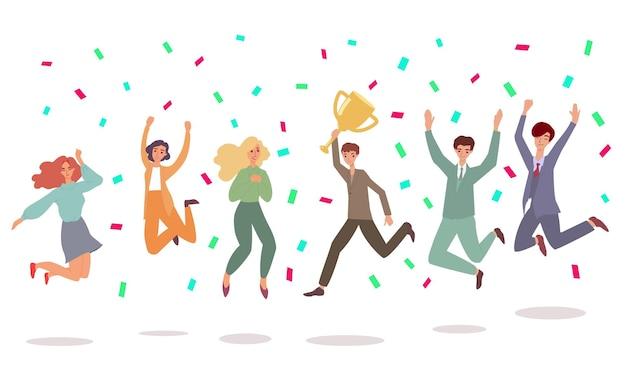 Kreskówka ludzie robią szczęśliwy skok z konfetti i złotym kubkiem