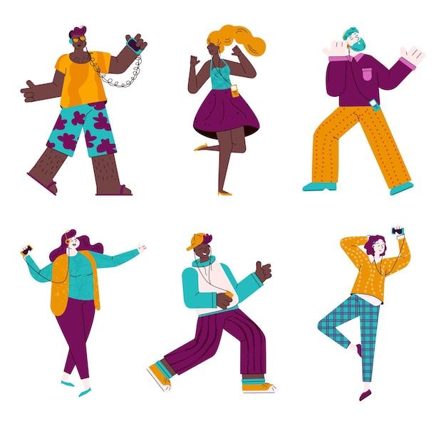 Kreskówka ludzie słuchają muzyki przez słuchawki i tańczą