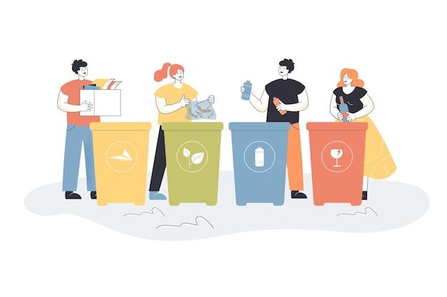 Kreskówka ludzie sortujący śmieci płaską ilustrację