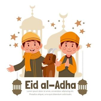 Kreskówka ludzie świętują ilustrację eid al-adha