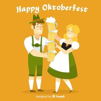 Kreskówka ludzie świętują oktoberfest