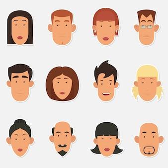 Kreskówka ludzie twarz.