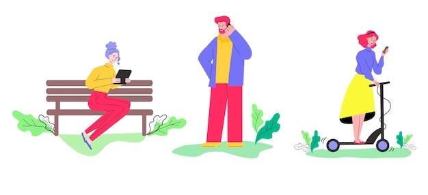 Kreskówka ludzie używający gadżetów technologicznych w izolowanym zestawie parku
