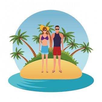 Kreskówka ludzie w letnie wakacje