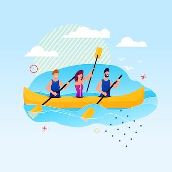 Kreskówka ludzie wiosłuje na kajak. slalom kayak events